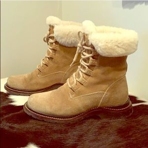 L.L. Bean Shoes - L.L. Bean Shearling Cuff Lined Lace Up Ankle Boots